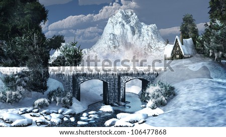 Winter mountains with a bridge on the river