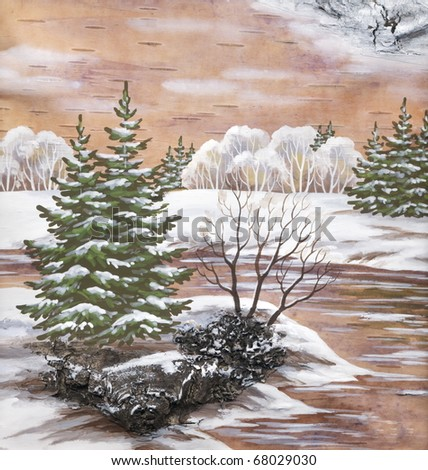 Winter natural landscape. Handmade, drawing distemper on a birch bark - stock photo