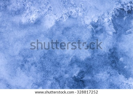 Winter natural snow and ice background with snowflakes - stock photo