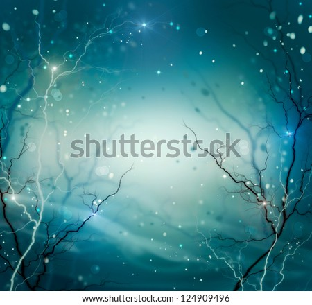 Winter Nature Abstract Background. Fantasy Backdrop with Copyspace. Night. Dark. Snow and Stars - stock photo