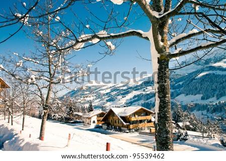 Winter nature in Swiss Alps, Berner Oberland, Adelboden - stock photo