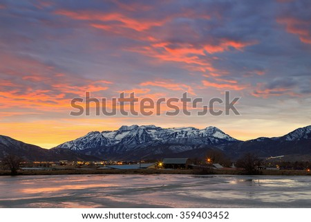 Winter night in Heber Valley, Utah, USA. - stock photo