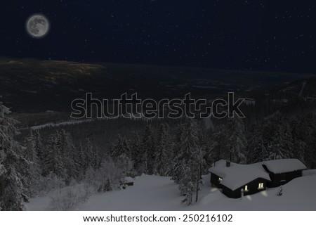 Winter night in Telemark Norway - stock photo