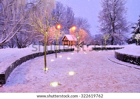 Winter night landscape - small house among the illuminated frosty tree and falling snow  - stock photo