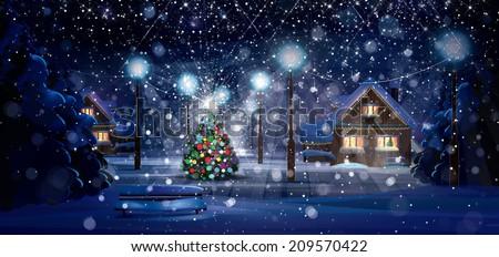 Winter night scene. Merry Christmas!  - stock photo