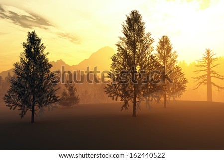 Winter Northern Sunset Sunrise Illustration - stock photo