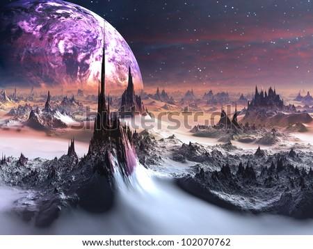 Winter on Distant Purple Planet - stock photo