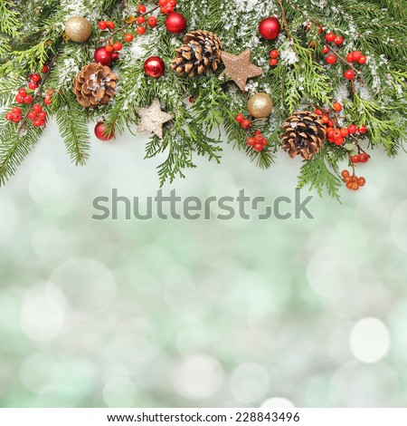 winter or christmas background - stock photo