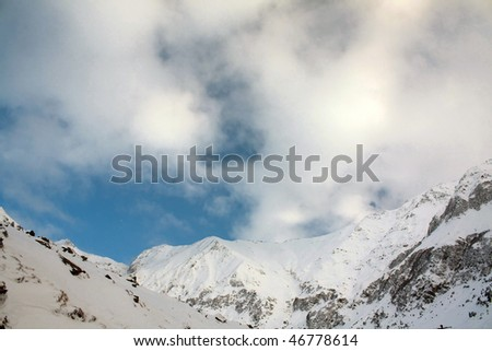 Winter over the Carpathian Mountains.