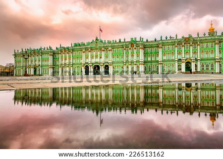Winter Palace on sunset, St Petersburg, Russia - stock photo