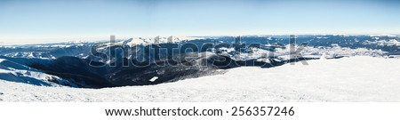 winter, panorama, fir, snow, landscape, mountain, - stock photo