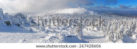 Winter panorama of ridge with trees in hoarfrost. - stock photo