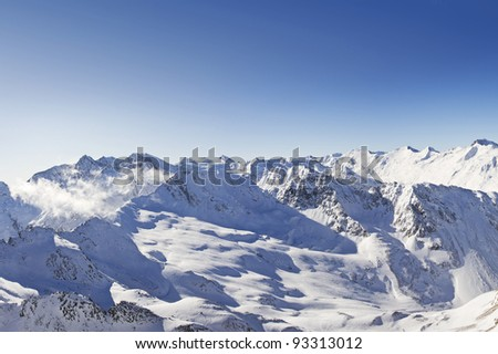 Winter panorama of the austrian alps