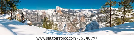 Winter Panorama - Yosemite National Park's Glacier Point in the heart of winter. - stock photo