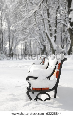Winter park with red bench covered with snow - stock photo