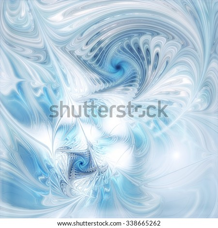 Winter pattern. Abstract icy background with blue on white color. Futuristic template for creative graphic design. Cold soft texture. Fractal ar - stock photo