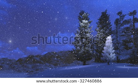 Winter pinewood high in mountains at snowfall night. Realistic 3D illustration was done from my own 3D rendering file. - stock photo
