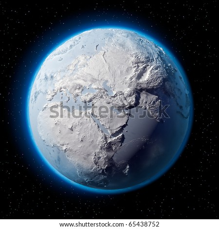 Winter planet Earth - covered in snow and ice planet with a real detailed terrain, soft shadows and volumetric clouds in space against a starry sky - stock photo