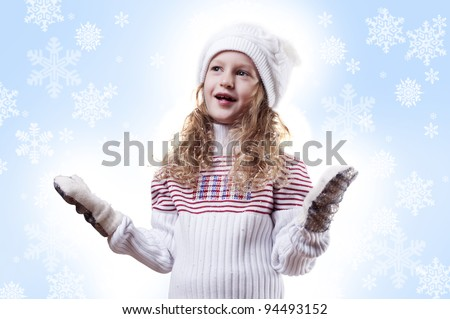 Winter Pleasant Girl snow flake blue  background