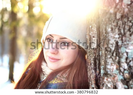 winter portrait female in forest