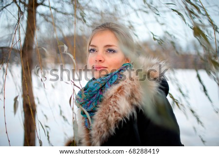 winter portrait of a lady - stock photo