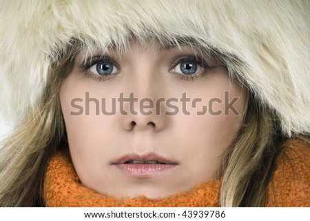 Winter portrait of the young attractive girl. - stock photo