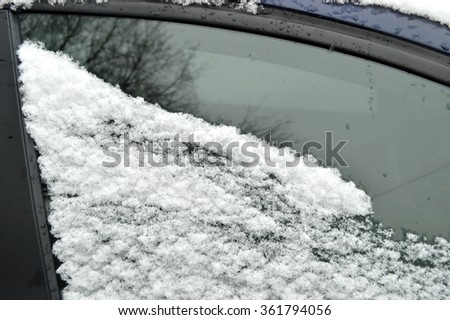 Winter problem, car in the snow - stock photo