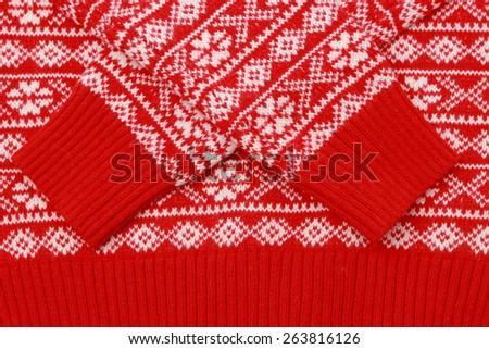 winter red sweater texture - stock photo