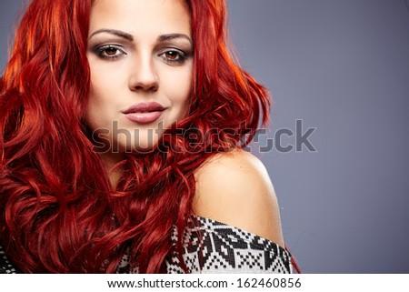 winter redhead woman portrait - stock photo