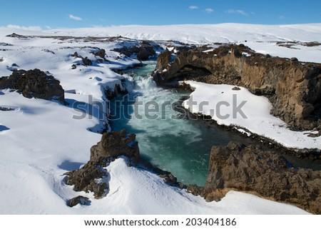 Winter River, Godafoss - stock photo