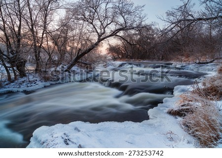 Winter river landscape - stock photo