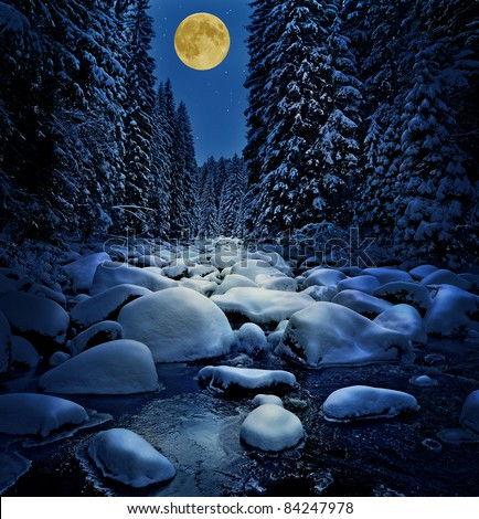 winter river with golden moon - stock photo