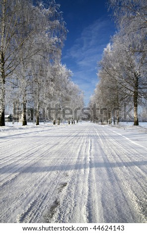 Winter road at  Lithuania