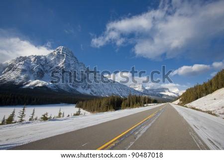 Winter Road in Alberta, Canada - stock photo
