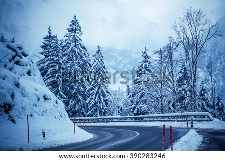 winter road in snow.  mountain road with snow - stock photo