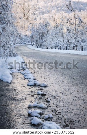 Winter road through icy forest covered in snow after ice storm and snowfall. Ontario, Canada. - stock photo