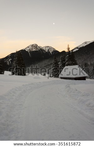 Winter road through the clearing at sunset  - stock photo