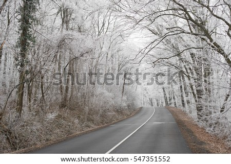 Winter road, winter transportation concept