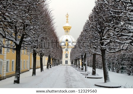 Winter's avenue in garden in Peterhof, St. Petersburg, Russia