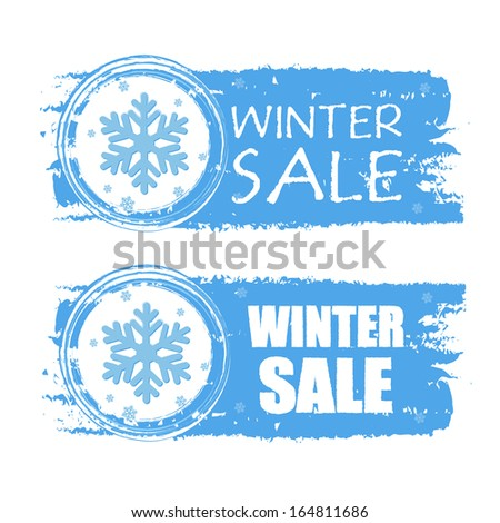 winter sale - text with snowflake sign on blue drawn banners, business seasonal concept - stock photo