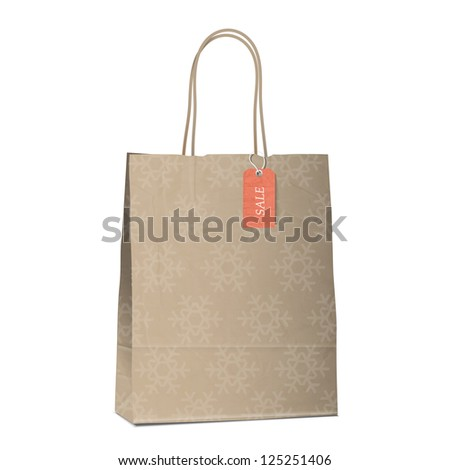 Winter sales shopping bag with snowflakes.Raster version - stock photo