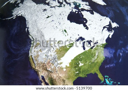 Winter satellite photo of North America - stock photo