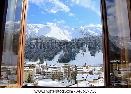 winter sceen outside the window - stock photo