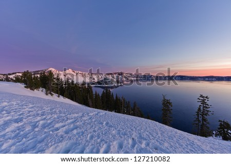 Winter Scene at Crater Lake National Park, Oregon, U.S.A. - stock photo
