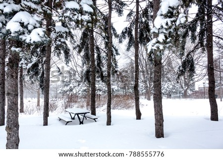 Winter scene in a park. A picnic table covered with snow.