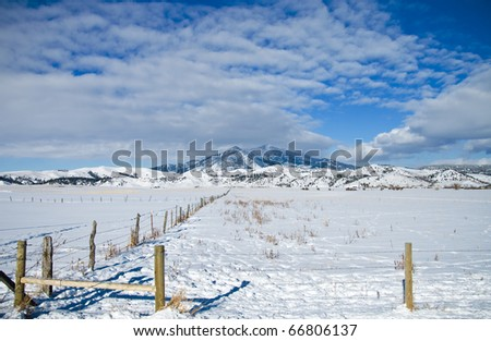 Winter Scene in Montana with the Bridger Mountains in the Background - stock photo
