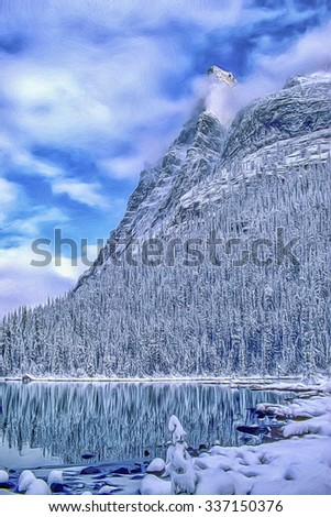 Winter scene mountain and lake in Canadian Rockies,digital oil painting