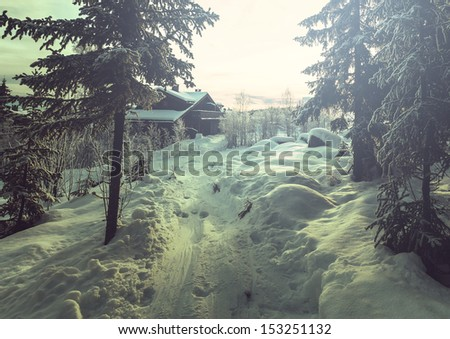 winter scene on ski resort,Norway - stock photo