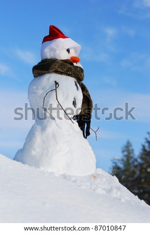 Winter scene with  snowman on  blue sky background - stock photo