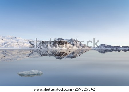 Winter Scene with Snowy Mountains and Glacier - stock photo
